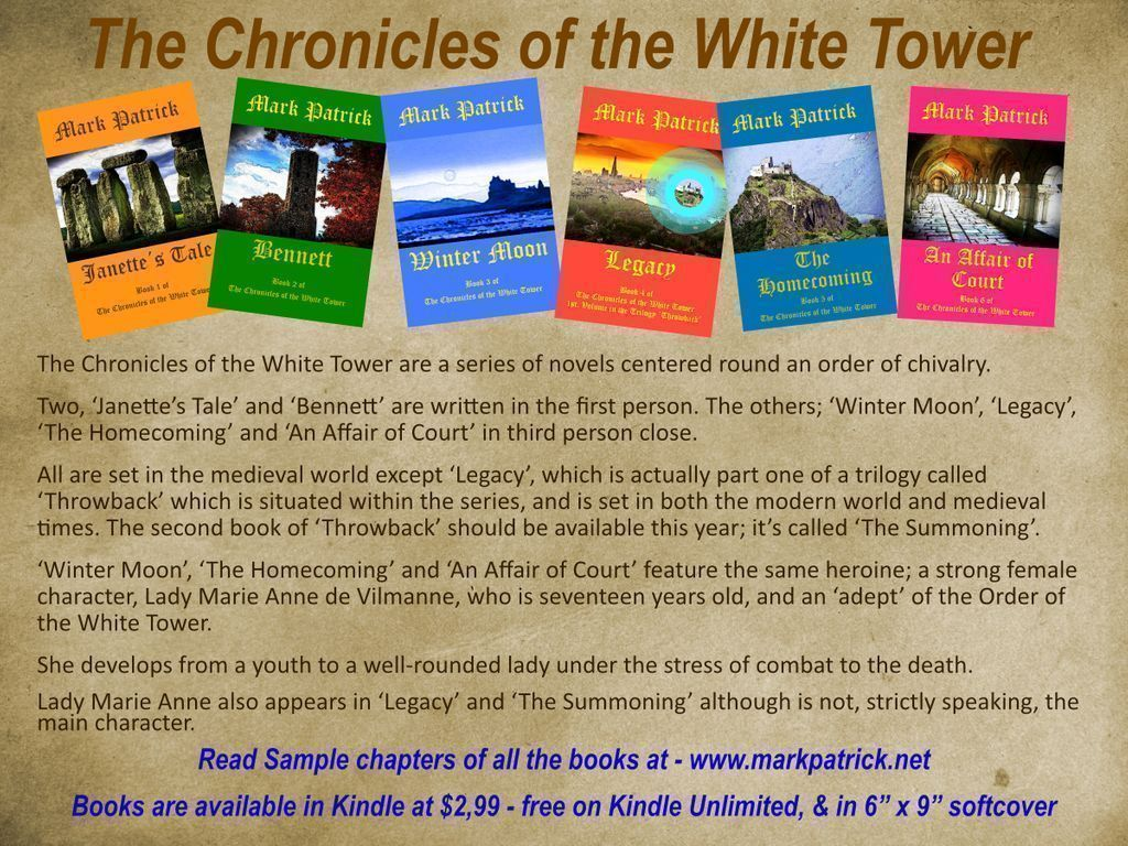 These are the six novels in the Fantasy series, 'The Chronicles of the White Tower'  Read the first few chapters: https://t.co/WAozLiugaM Amazon: https://t.co/cwzWRkn7Zm Kindle $2·99 (or equivalent) + Tax. All books FREE for those with Kindle Unlimited #amreading #read #Reader https://t.co/jI9T5Xttpg