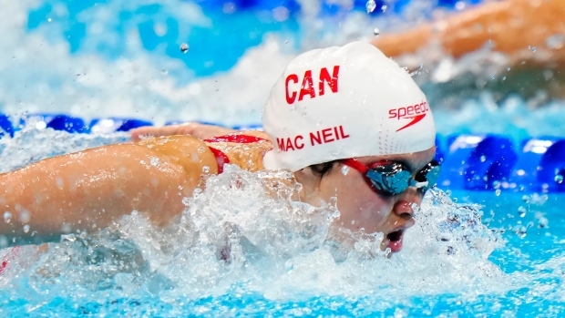 Canada's Maggie Mac Neil wins gold in 100m butterfly event