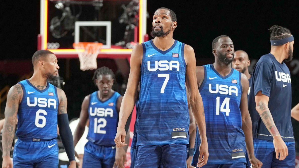 """@BleacherReport Damian Lillard on international #NBA players after #TeamUSA loss today: """"They are completely different when they play for their countries.""""  In other words - #USA NBA players only play for a paycheck  Thanks for embarrassing our country  Michael Jordan would not lose to #France https://t.co/SyaCo65oVf"""