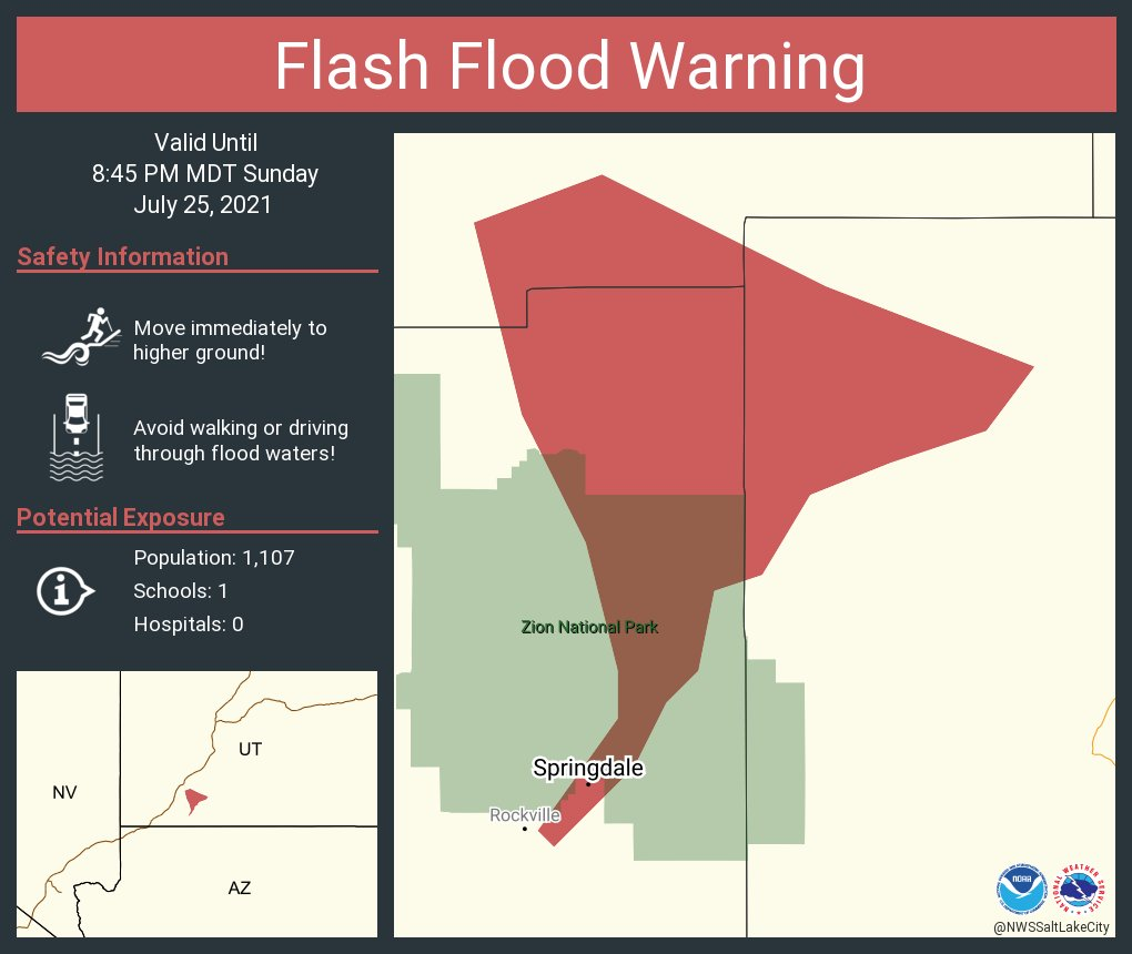 Image posted in Tweet made by NWS Salt Lake City on July 25, 2021, 10:52 pm UTC