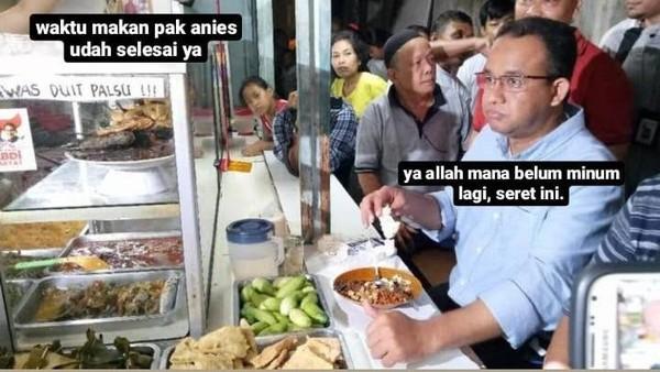Foto meme Anies Baswedan makan di warteg viral
