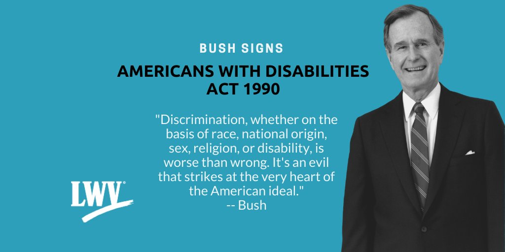 #OnThisDay, Bush signed the Americans with Disabilities Act (ADA) of 1990. The ADA is a civil rights law that prohibits discrimination based on disability.  Learn more: --  https://t.co/kGAzRLlEYx #CivilRights https://t.co/pcjmoJ6FlB