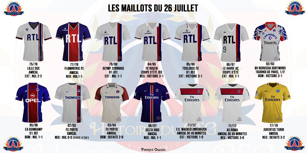 test Twitter Media - Les maillots portés par les joueurs du #PSG un 26 juillet (par @PrinceOwski pour @Histoire_du_PSG) https://t.co/wU3niKMUaD