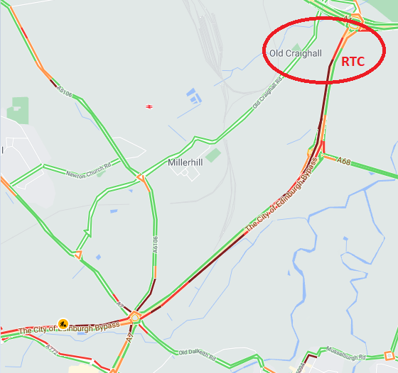 test Twitter Media - ❗️NEW⌚️16:40  #A720   Lane 3 of 3 is currently blocked on the #A720 E/B towards Old Craighall r/about following an earlier RTC.  Traffic is extremely slow in the area, so do expect delays.   #edintravel @SETrunkRoads https://t.co/RgO31VqD51