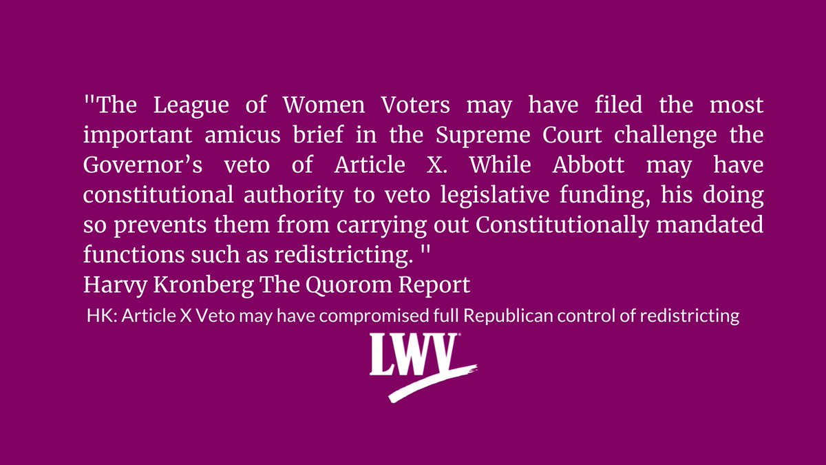 By #defunding the Texas Legislature, its staffers, & nonpartisan legislative agencies, the veto will prevent the Texas Legislature from performing its constitutional duty to redistrict congressional, legislative, & SBOE seats.  #lwv #txlege #redistricting https://t.co/8fAIXwYOVf https://t.co/yXIjAIxKhe