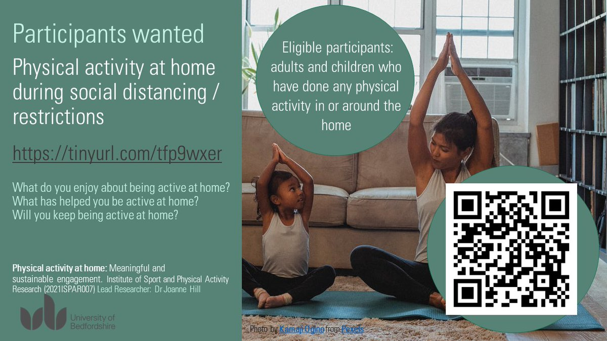 RT @COTSchoolSport: @UoB_SSPA are investigating at-home #physicalactivity during #covid19 restrictions.  Please complete and share with your networks. @Nsport @HealthySchools5 @NNorthantsC @WestNorthants  Scan QR code/link in image to access. Full info https://t.co/ovbixSyXK7. Q's to @drjoannehill