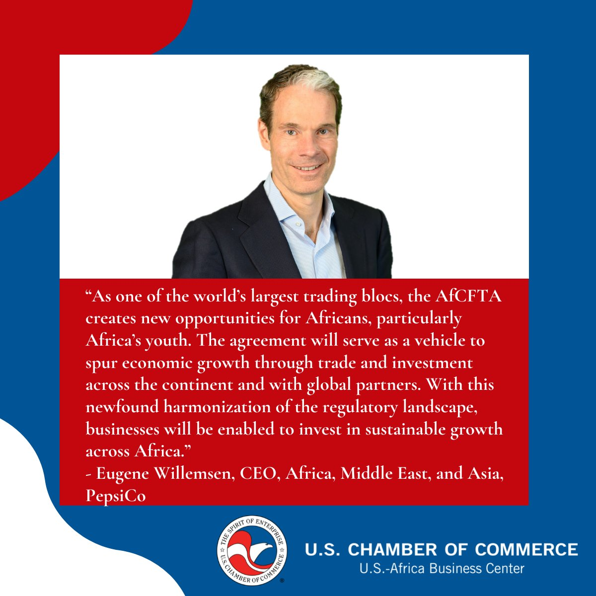 test Twitter Media - In a recent mid-year message to members of the @USChamberAfrica, Board Chair Eugene Willemsen, CEO for @PepsiCoAMESA, shared why he believes the AfCFTA will be an important vehicle for economic transformation, spurring trade and investment across Africa. https://t.co/aqh6I2aO7l