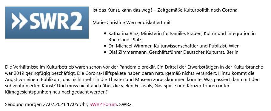 """Image for the Tweet beginning: Programmempfehlung: """"Zeitgemäße Kulturpolitik nach #Corona"""""""