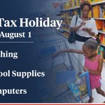 Tennessee's sales tax holiday is this weekend. Thanks to our partners in the General Assembly, our tax holiday will help hardworking Tennesseans save money on clothing, school supplies & computers. For a list of eligible items, please visit https://t.co/SioiC0EAbc