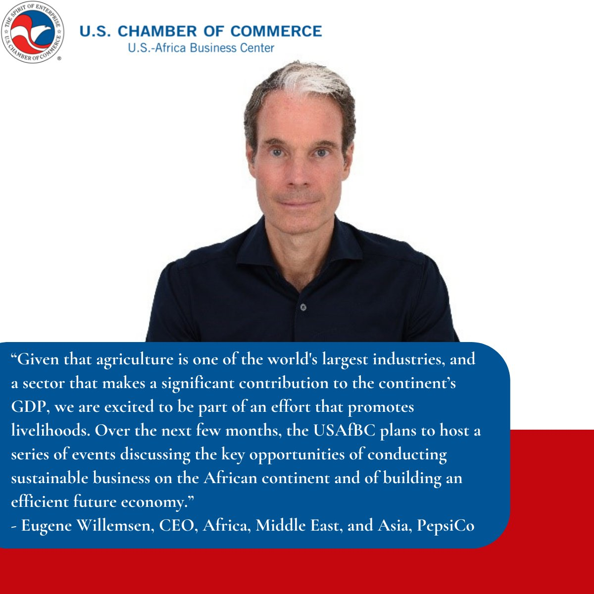 test Twitter Media - In a recent mid-year message to members, @USChamberAfrica Board Chair @EugeneWillemsen  highlighted the opportunity the private sector has to make an impact on jobs creation and growth through a focus on sustainable agriculture. https://t.co/UZFGTHH7hD