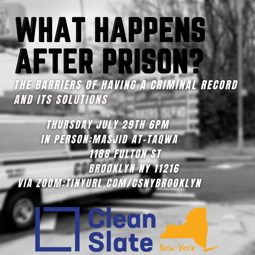 Join @cleanslateny on July 29th to learn more about the barriers driven by criminal records and the SOLUTIONS (hint: it's #cleanslate record relief!).  See you there (in person or virtually)!  #secondchances #cleanslate https://t.co/9TGDKRgkWz