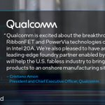 Image for the Tweet beginning: Qualcomm is partnering with Intel