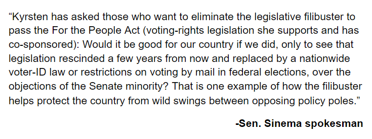 Dear @SenatorSinema - if we don't pass voting rights we will have more than a wild swing, we will have the end of civil rights and civil liberties and rule by autocracy.