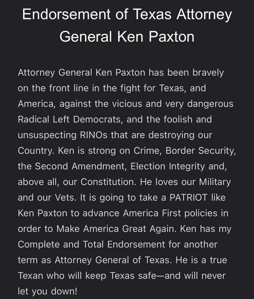Just in: Trump's endorsement in the AG primary goes to @KenPaxtonTX https://t.co/9MqGIPnepI