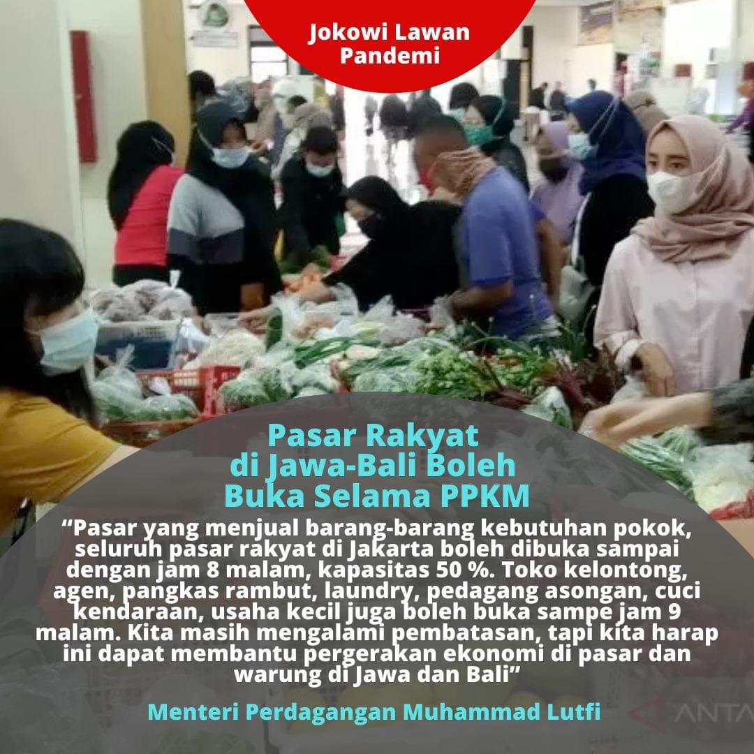 Pasar rakyat di P. Jawa-Bali diperbolehkan buka sampai jam 8 malam dgn kapasitas pengunjung 50%. @Kemendag https://t.co/XLhILqEnTz