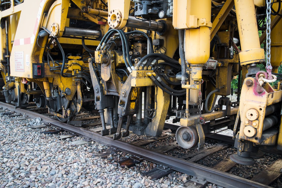 #Machines #steampunk  #46  #railway track tamper-liner, this must be the liner part that aligns the rails to make them parallel and level. The whole machine was huge!