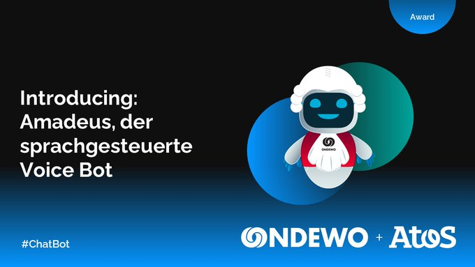 Kennen Sie Amadeus, unseren sprachgesteuerten #VoiceBot von @ONDEWO und Atos, schon? Er...