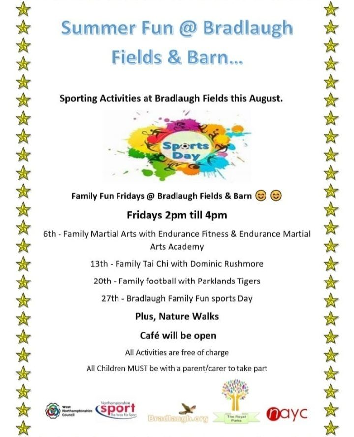 RT @NrthmptonEvents: Summer Fun to enjoy with @Nsport at Bradlaugh Fields in Northampton throughout August, from football to family tai chi  Full details on the attached poster