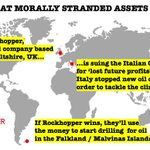 Hello @Fidelity_UK. You own 7m shares in Rockhopper plc, which is suing Italy's government for acting on climate change, & hoping to use the winnings to drill for oil in the Falklands / Malvinas. Which side of history do you expect to be on? These are morally stranded assets.