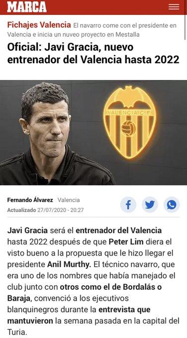 Tal día como hoy hace un año se convertía Javi Gracia en entrenador del Valencia CF. El técn....