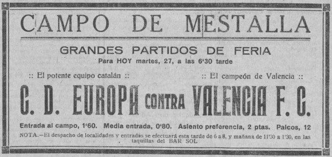 Tal día como hoy en 1926 el VCF derrotó al CD Europa por 3-1 en partido amistoso de la feria d....