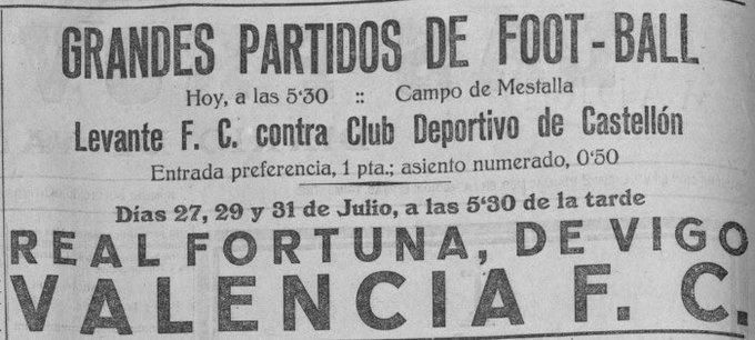 Tal día como hoy en 1923 el Valencia CF derrotó por 7-0 al Fortuna de Vigo en partido amistoso....