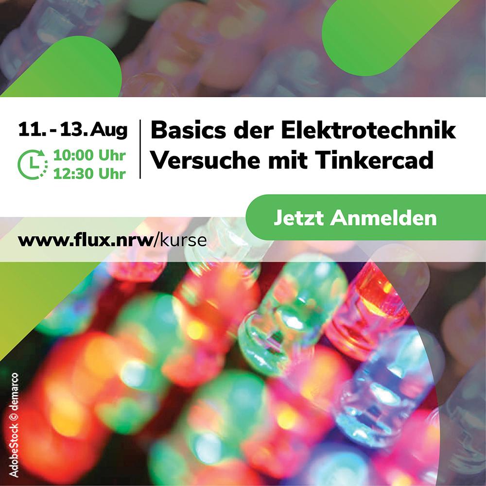 """Kursplätze sichern: Basics E-Technik – Versuche mit #Tinkercad im <a class=\""""link-mention\"""" href=\""""http://twitter.com/flux_nrw\"""" target=\""""_blank\"""">@flux_nrw</a> Schülerforschungslabor. Für #Schülerinnen und #Schüler kostenfrei dank #Förderung <a class=\""""link-mention\"""" href=\""""http://twitter.com/zdiNRW\"""" target=\""""_blank\"""">@zdiNRW</a> <a href=\""""https://t.co/YYzc66bTyg\"""" class=\""""link-tweet\"""" target=\""""_blank\"""">https://t.co/YYzc66bTyg</a>"""