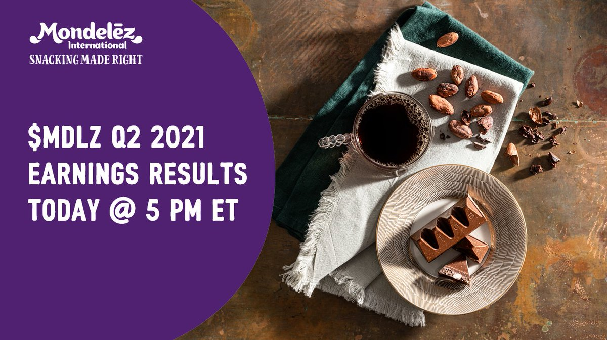 Join us as we share our #Q2 2021 earnings results today at 5 p.m. ET. You can listen here: https://t.co/jWcePm3TID $MDLZ #MDLZEarnings https://t.co/8vs5SGYaZP