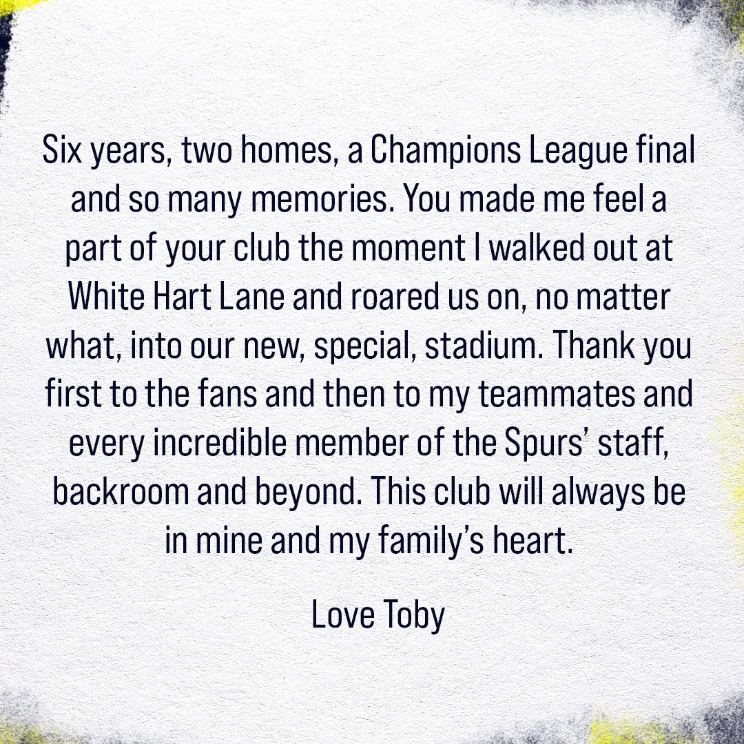Alderweireld's farewell message on his official Twitter account.