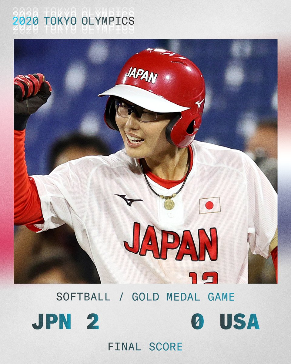 RT @SportsCenter: Japan wins the gold in softball 🇯🇵  It's the sport's first appearance in the Olympics since 2008. https://t.co/FdDB9Pn2NS