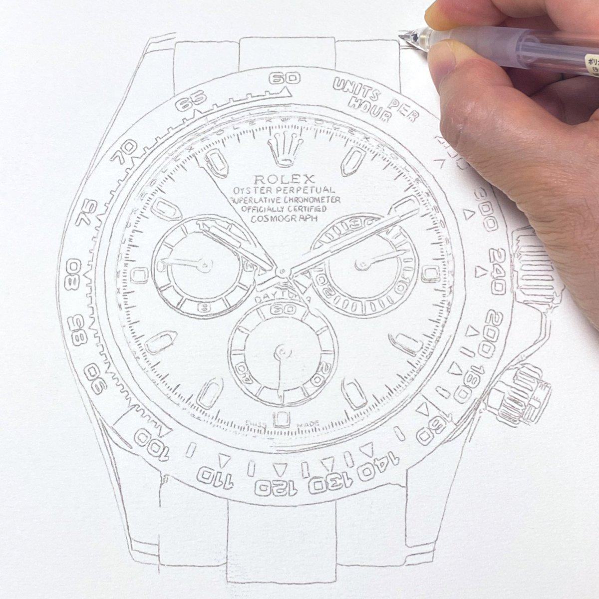 test ツイッターメディア - 今日も描いてます。「ROLEX コスモグラフ デイトナ 116506」。 #stainart #ステインアート #art #アート #腕時計 #時計 #ロレックス #Rolex #デイトナ #daytona https://t.co/bwxW64WeFa