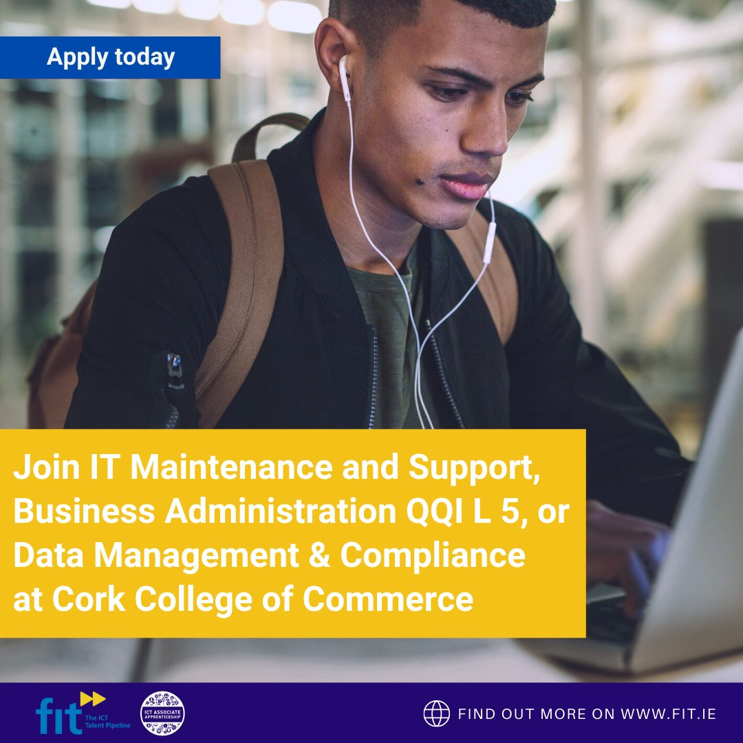 Are you looking to upskill or gain new skills? Check out these courses at @CorkCollege   👉 I.T Maintenance and Support 👉 Business Administration QQI L 5 👉 Data Management & Compliance  Enrolment is now open for Sept 2021 Link to enrol: https://t.co/WszQnTTZ0k #upskillireland