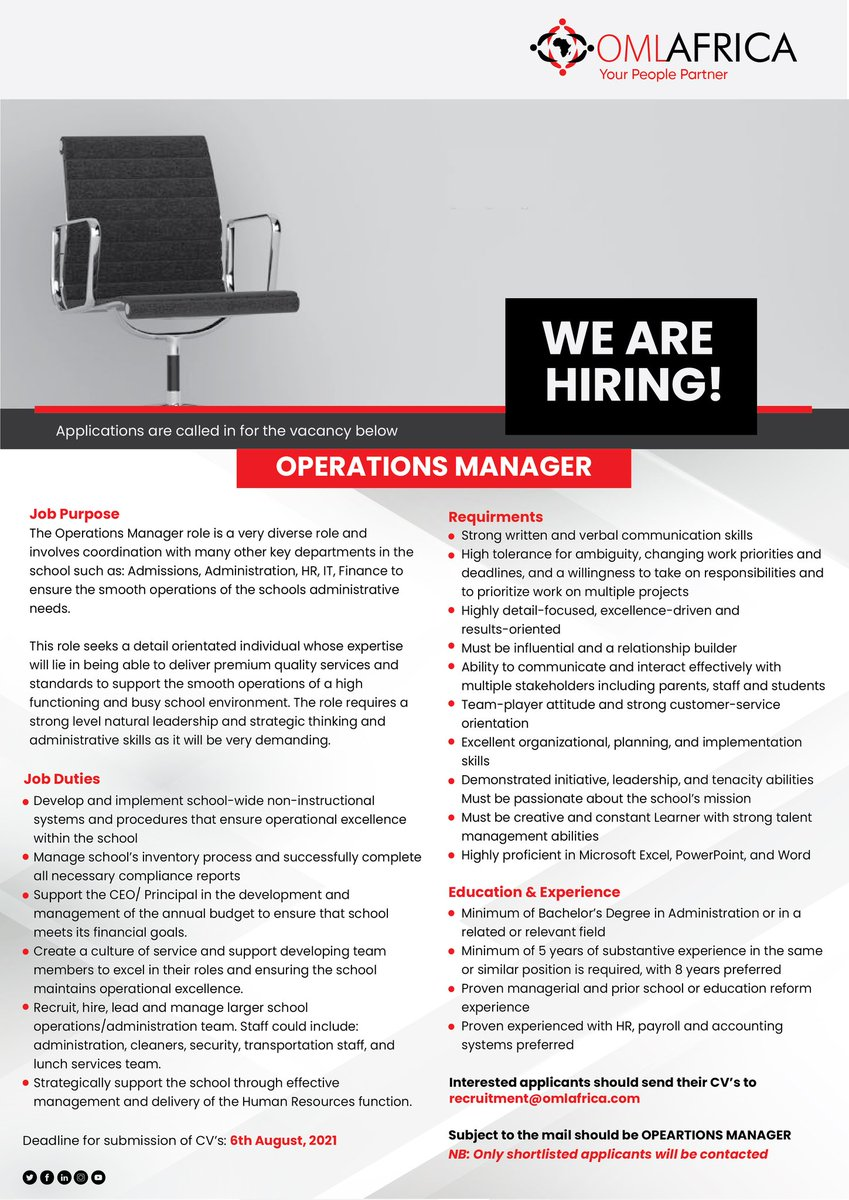 test Twitter Media - Appliactions are being called for Accounts Officer role. Qualified and interested persons should send their CVs to recruitment@omlafrica.com  #jobs #career #recruitment #hiring #jobsearch #OML #OMLAfrica #hr https://t.co/KsKHxzDhUZ