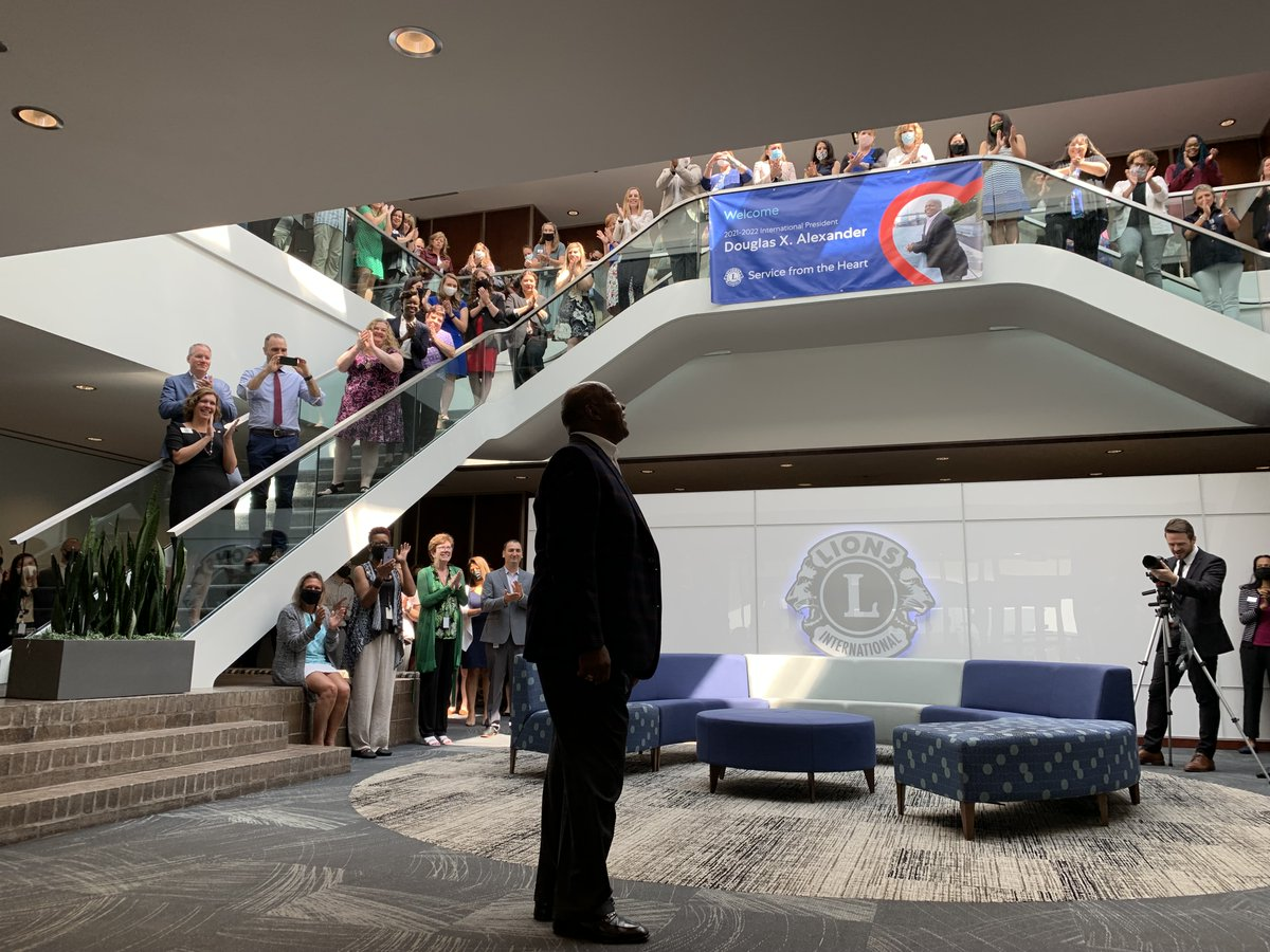 test Twitter Media - Lions Clubs International staff welcomed 2021-2022 International President Douglas Alexander at his first presidential visit to headquarters. #WeServe https://t.co/GUW6zcAWT2