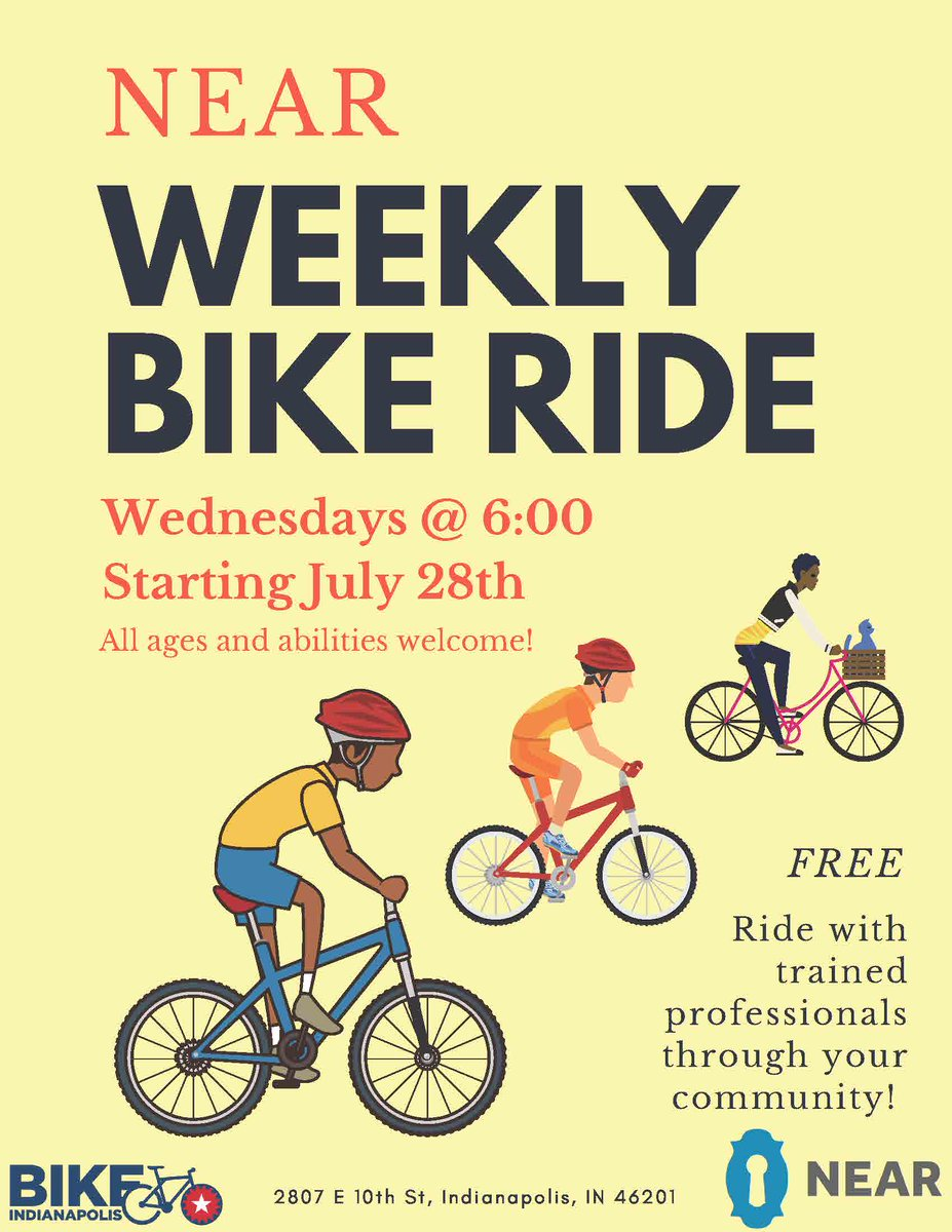 #Reminder:  Our first weekly @IndyNEAR ride hits the pavement of the Near Eastside tonight at 6 p.m. All ages and all abilities are welcome to join this casual ride around the neighborhood with fellow Near Eastsiders.