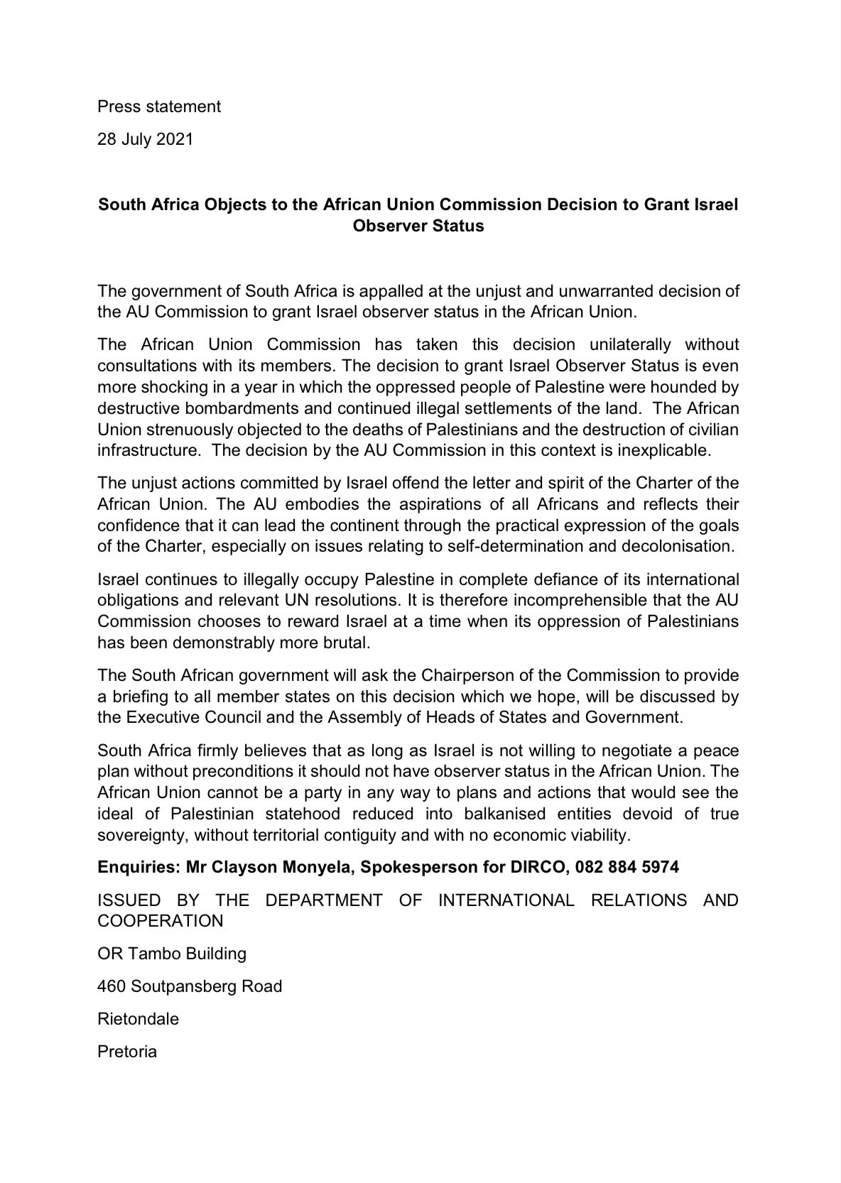 """DIRCO South Africa on Twitter: """"South Africa objects to the African Union  Commission Decision to grant Israel Observer Status.… """""""
