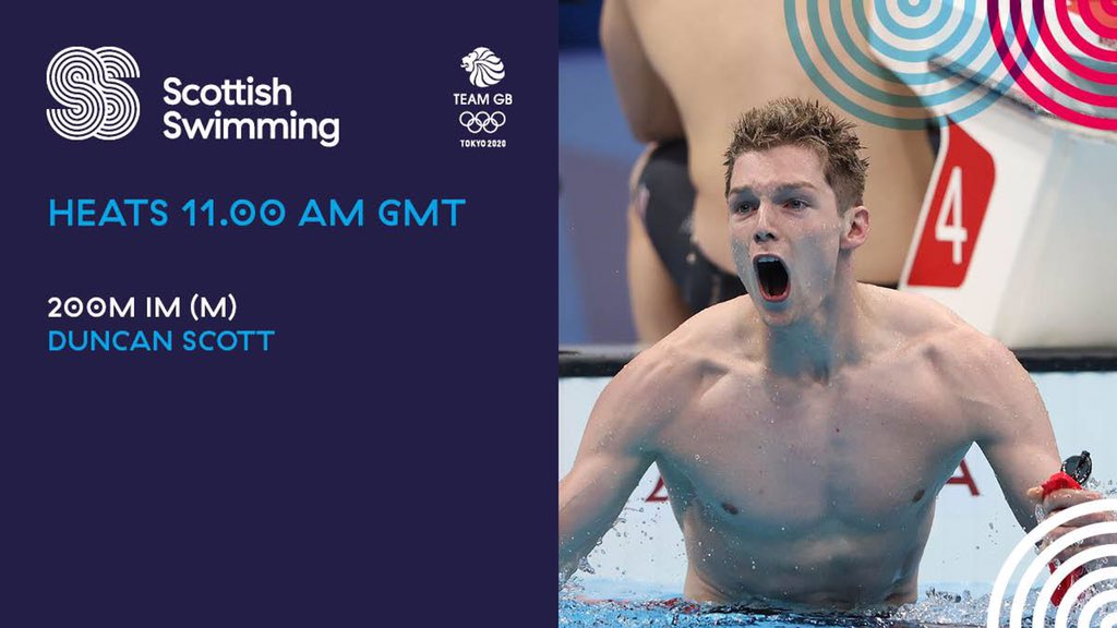 Duncan Scott's quest for another #Olympics  medal continues this lunchtime.  The Stirling University swimmer is taking part in the 200m individual medley heats: