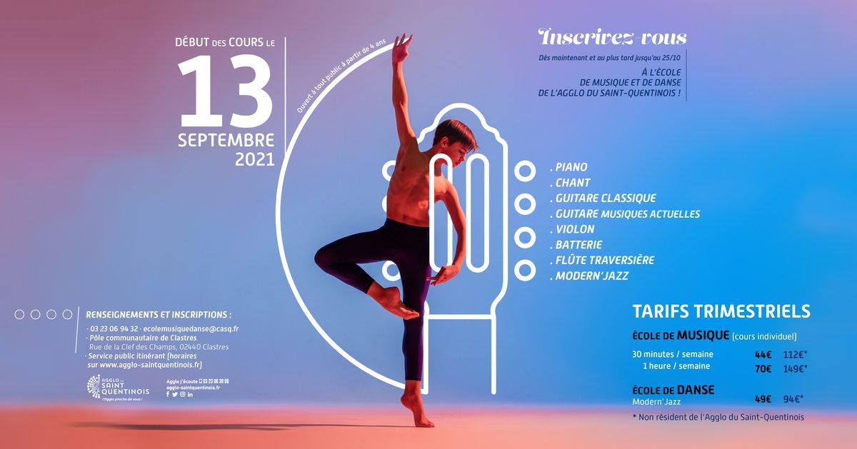 L'école de #musique et de #danse du Pôle Communautaire de Clastres effectuent leur #rentrée le 13 septembre 2021 Inscrivez-vous dès à présent et au plus tard jusqu'au 25 octobreℹ️ Inscriptions et infos au 03 23 06 94 32 ou sur ecolemusiquedanse@casq.fr https://t.co/zUbIO5AScU