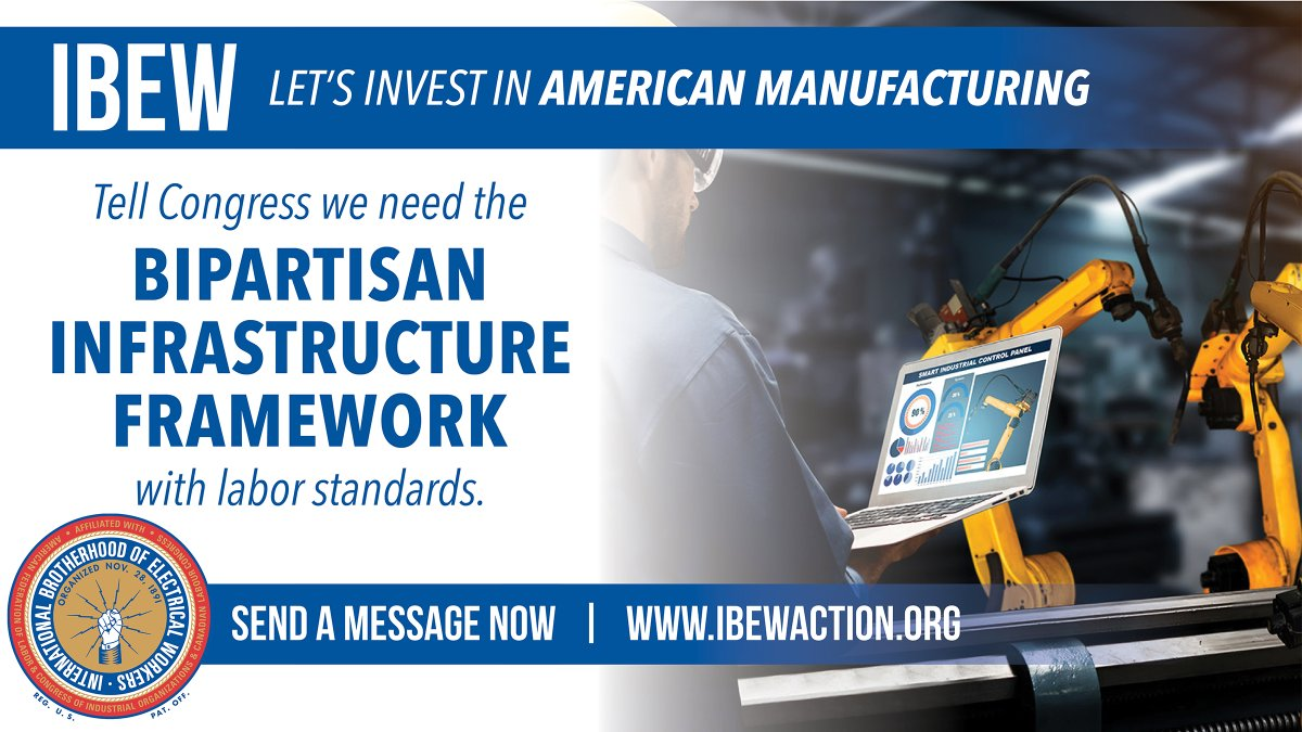 test Twitter Media - Time to strengthen Made-in-America manufacturing. Time for Congress to pass the Bipartisan Infrastructure Framework. https://t.co/1Ayw67m8LC #ibewbuildsbetter #buildbackbetter https://t.co/Kwlnvr57Th