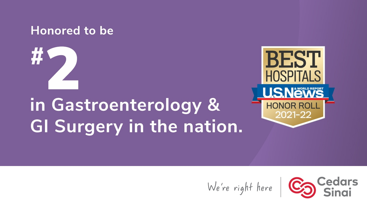 """Honored to be a part of the #CedarsSinai gastroenterology team ranked """"Best in West"""" and #2 in Nation. Our Division has world-class research & clinical programs in #IBD, #IBS, #SIBO, liver, pancreas, endoscopy, motility, nutrition, obesity, GI #VR, and outcomes research.👇"""