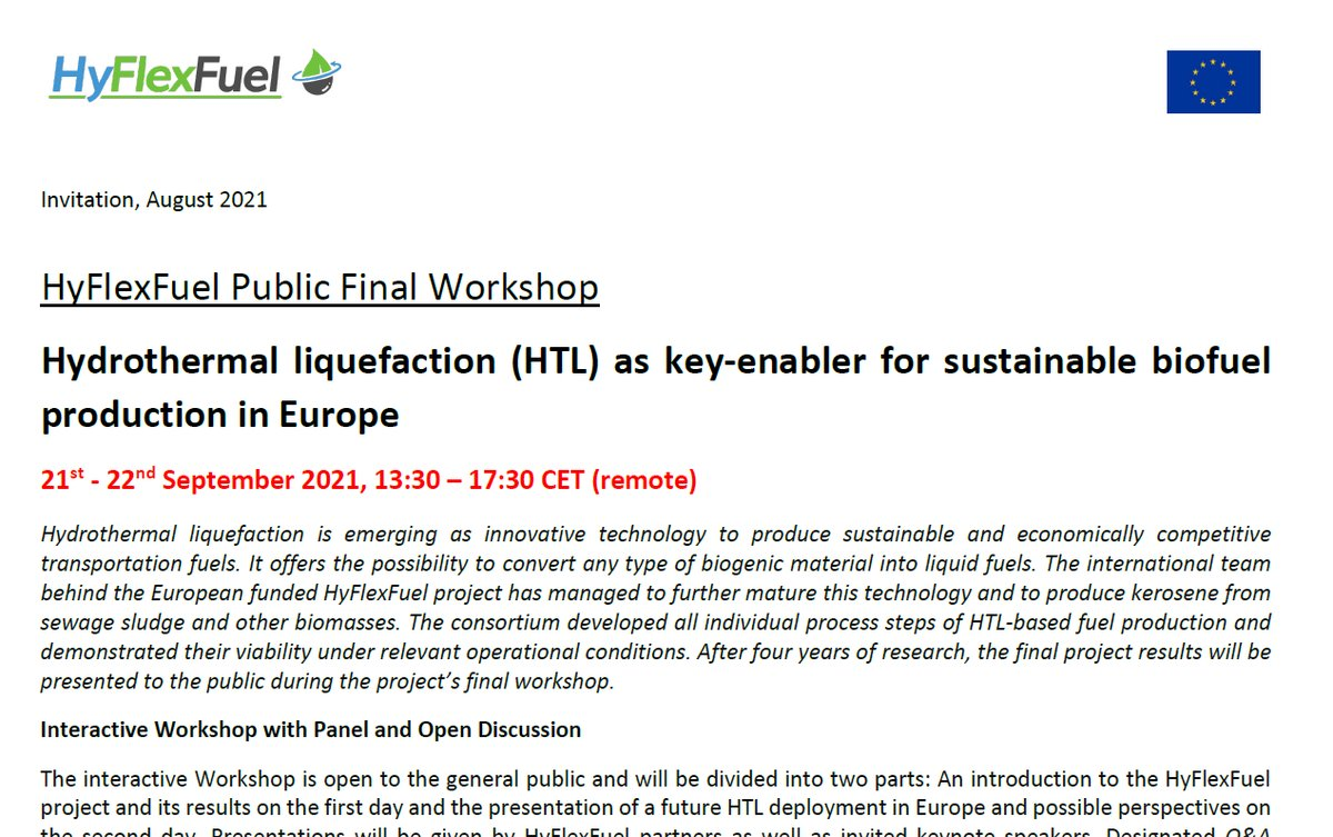 Interested in truly sustainable #biofuels? Reminder: The @HyFlexFuel Final Public Workshop is a great opportunity to meet and talk to Europe's key #HydrothermalLiquefaction researchers and stakeholders.  Registration is open until 20 September 12:00 CET: https://t.co/bxyvWmDxx8.