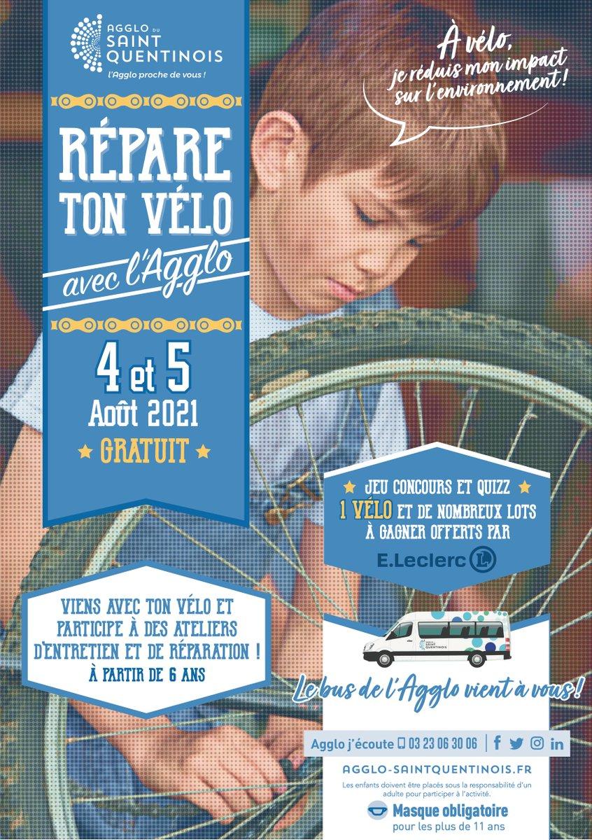 """On vous donne rendez-vous aux ateliers """"Répare ton #vélo avec l'Agglo"""" les 4 et 5 août 2021 dans les communes suivantes : 04 août : Artemps, Aubigny-aux-Kaines, Sommette-Eaucourt, Fontaine-les-Clercs05 août : Marcy, Essigny-le-Petit, Fayet, Lesdinsℹ️ Plus d'infos https://t.co/hAo8vh3EC6"""