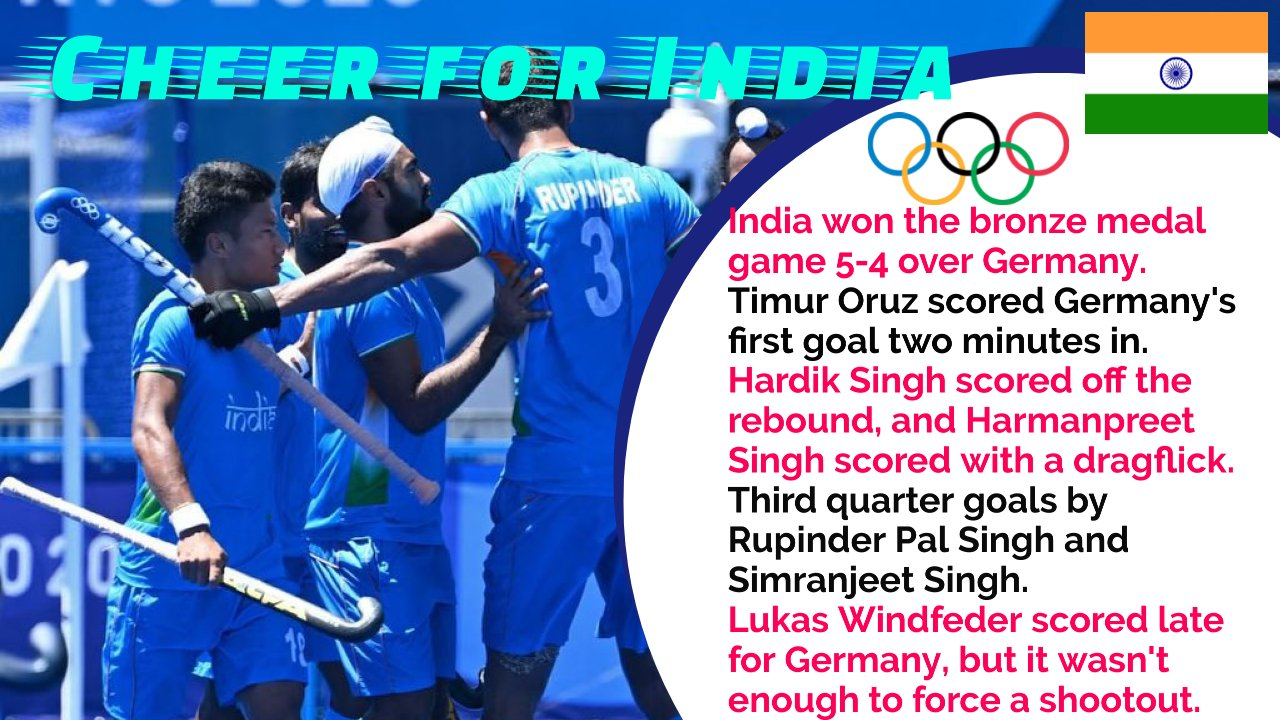 Olympics 2020: India wins hockey bronze, beating Germany 5-4, winning a medal after 41 years