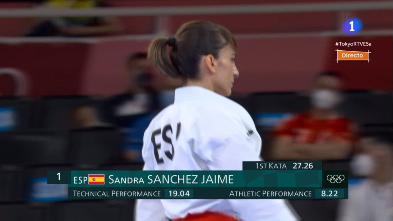 Sandra Sánchez, tras su primera kata de los Juegos.