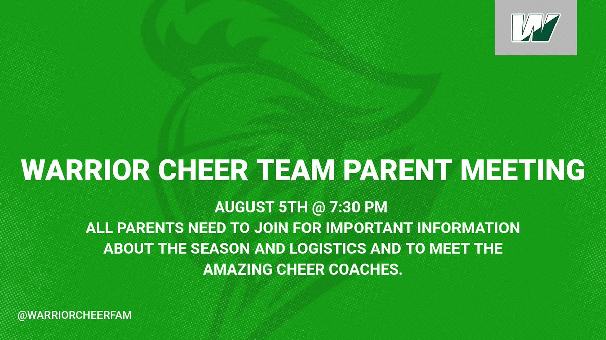 Parent Meetings for teams are starting next week. Please make sure if you have a kid on the team you attend to learn about the logistics of the season. <a target='_blank' href='http://twitter.com/warriorcheerfam'>@warriorcheerfam</a> <a target='_blank' href='https://t.co/PzN3WEpjmu'>https://t.co/PzN3WEpjmu</a>
