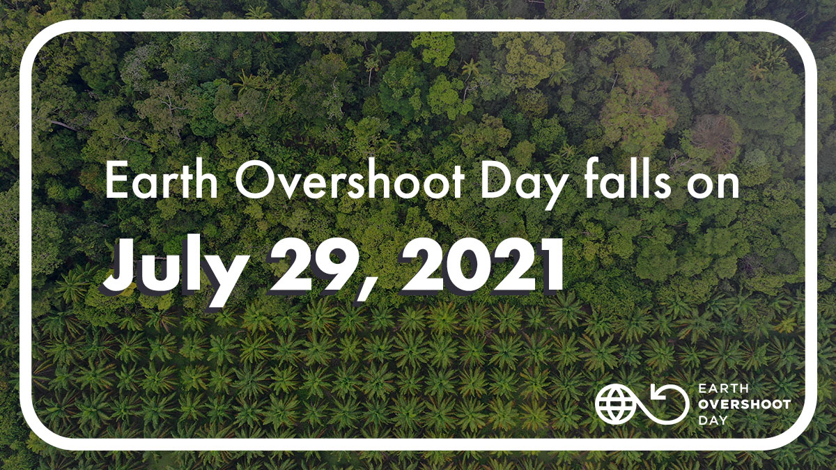 Text on green forest - 29 July is Earth overshoot day
