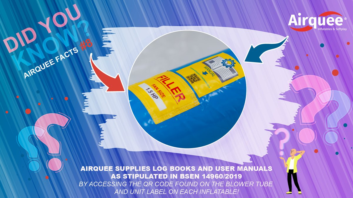 DID YOU KNOW❓ Airquee Facts #8 📕 Airquee supplies log books and user manuals as stipulated in BSEN 14960/2019 👉 by accessing the QR code found on the blower tube and unit label on each inflatable! #airquee #Facts #howwedo #findout #askmehow #products #inflatables