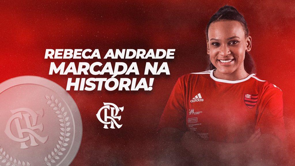 Flamengo parabeniza Rebeca Andrade, medalhista de prata na ginástica artística
