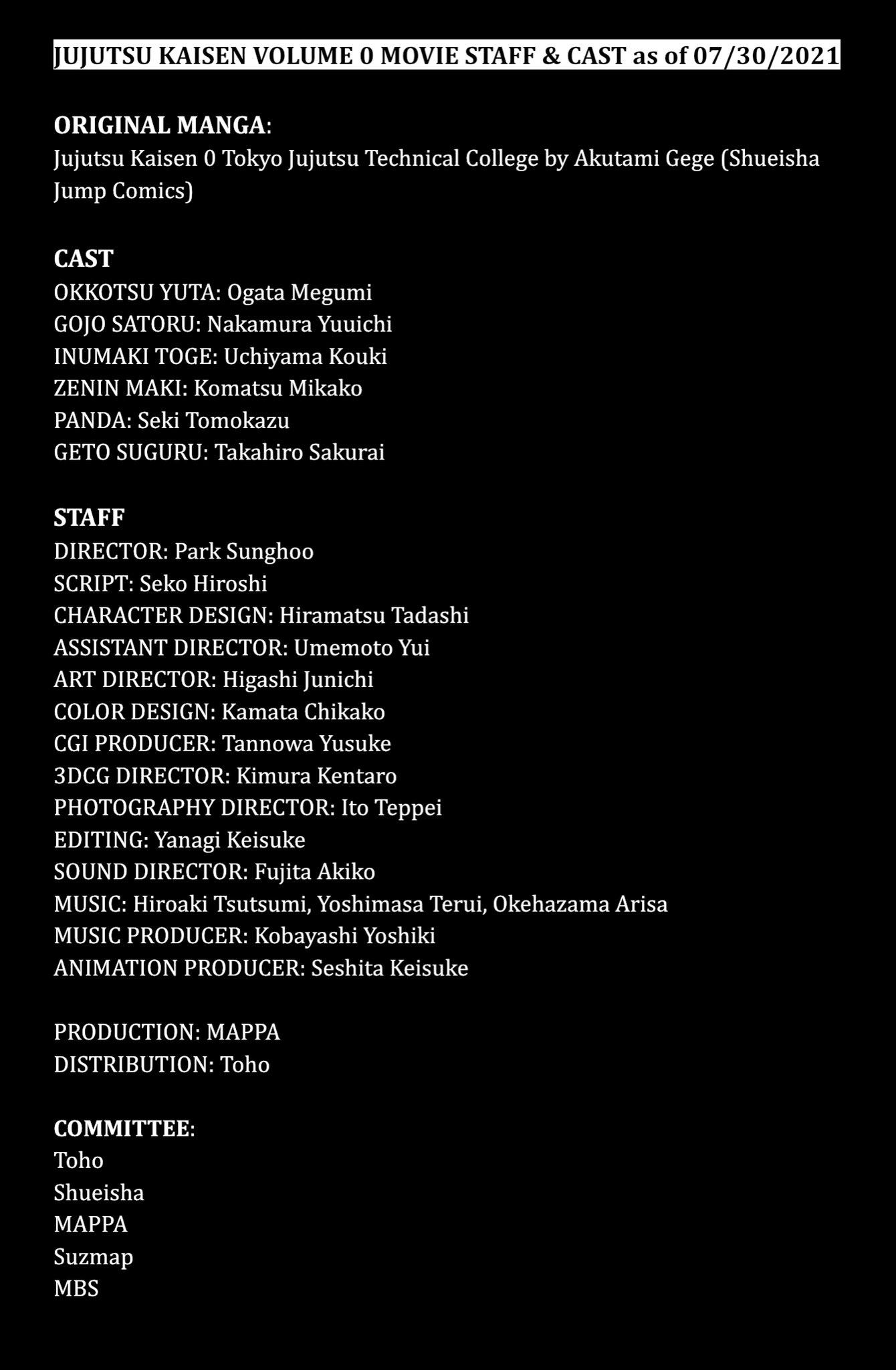 Cast de Jujutsu Kaisen 0 - legadoplus