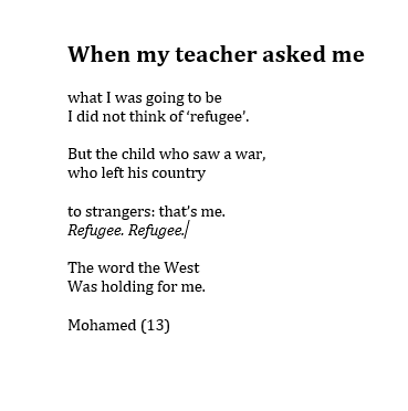 #RNLI Mohamed left Syria when he was 10 and wrote this when he was 13.